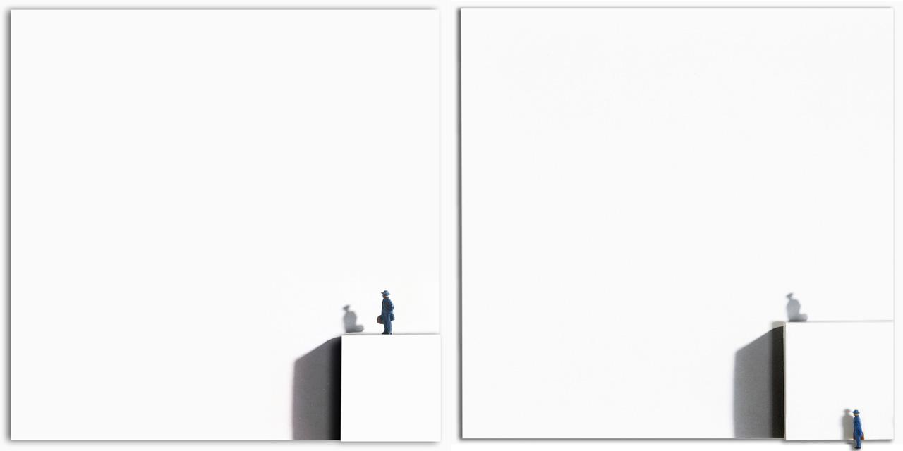 Viajó su viaje, llevó su sombra (díptico). Fotografía intervenida. 40 x 40 cm c/u. 2003