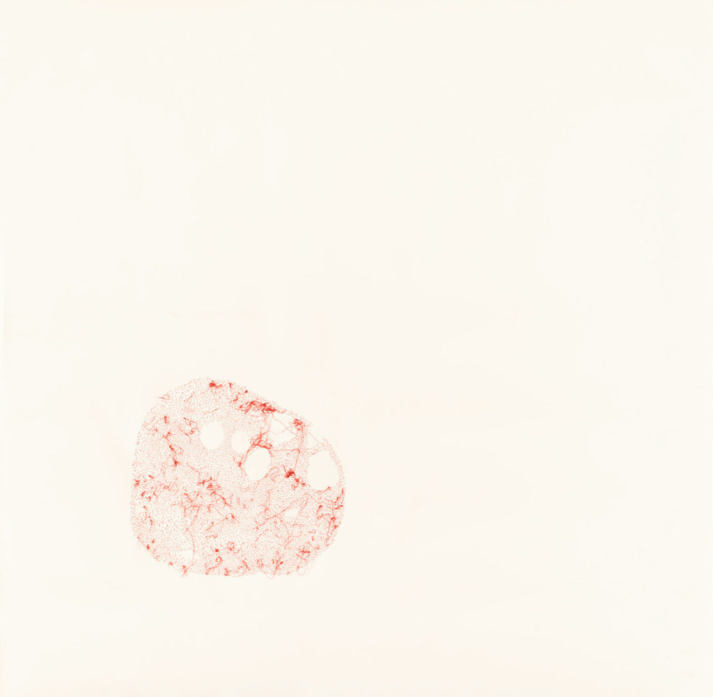 Papel de algodón cosido. 140 x 140 cm. 2018